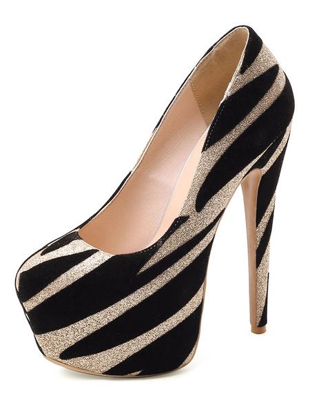 Milanoo Women Platform Sexy High Heels Round Toe Glitter Sexy Pumps For Rave Club