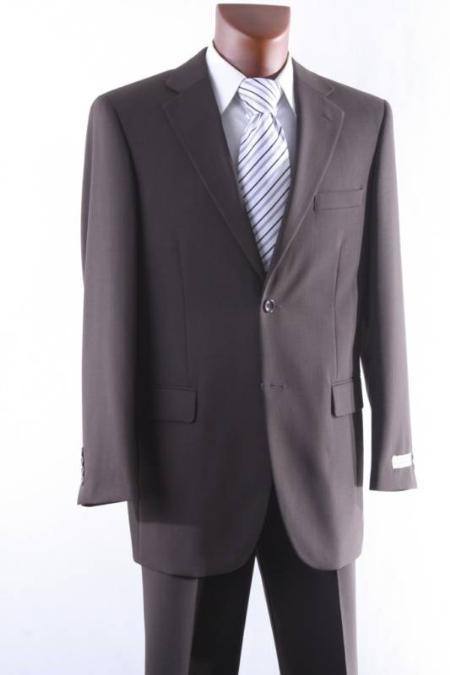 Mens 2 Button 1 Wool Suit W Single Pleat Pants Brown