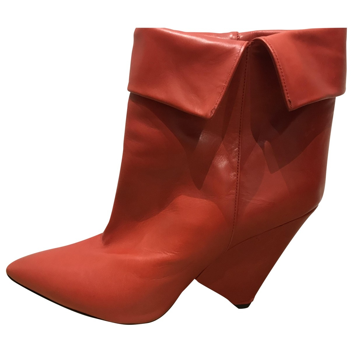 Isabel Marant Purdey Red Leather Ankle boots for Women 40 EU