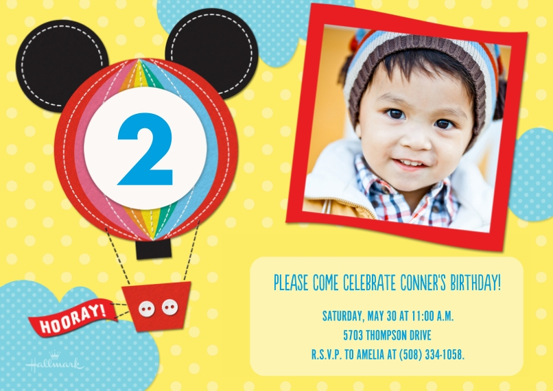 Kids Birthday Party Invites 5x7 Cards, Premium Cardstock 120lb with Rounded Corners, Card & Stationery -Mickey Mouse Birthday Balloon