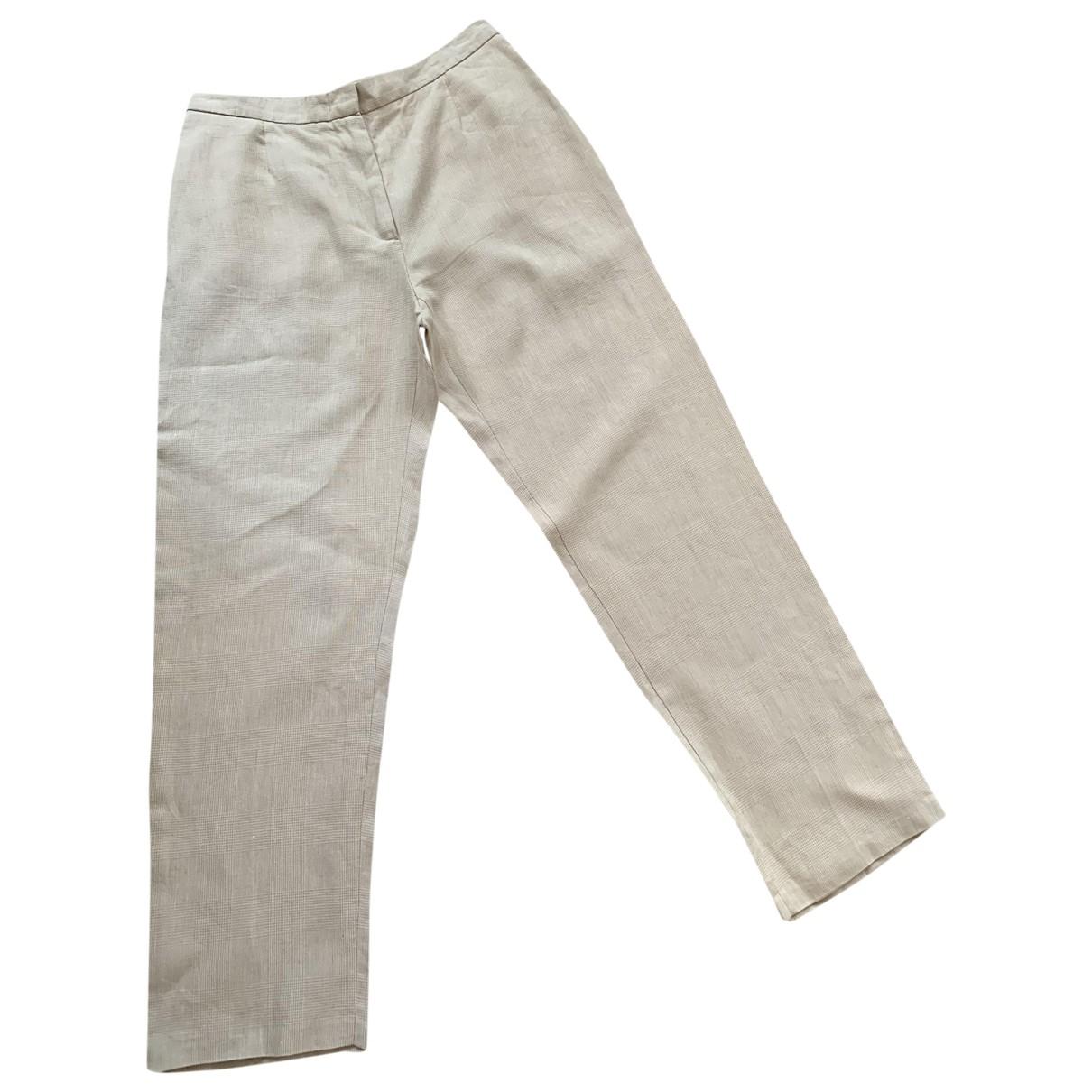 Max Mara \N Beige Linen Trousers for Women 44 FR