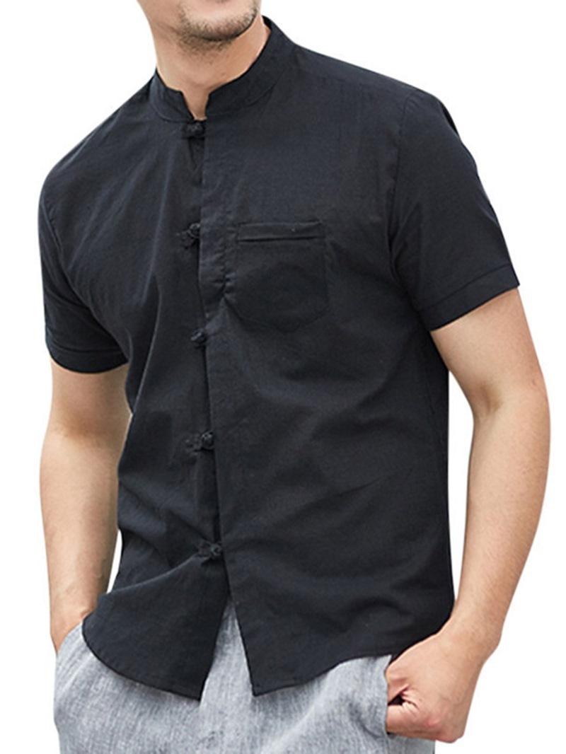 Ericdress Vintage Plain Stand Collar Loose Shirt