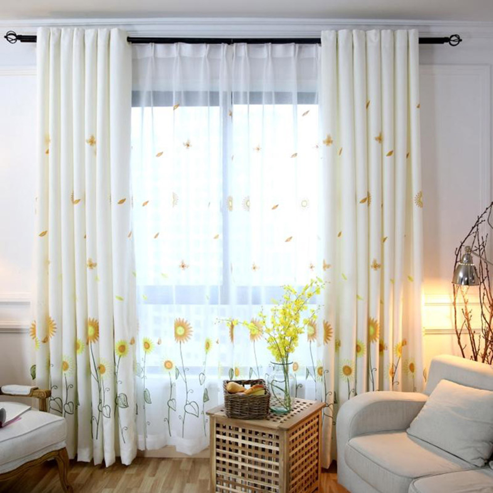Elegant Embroidered Sunflower Decoration Curtain Sheer