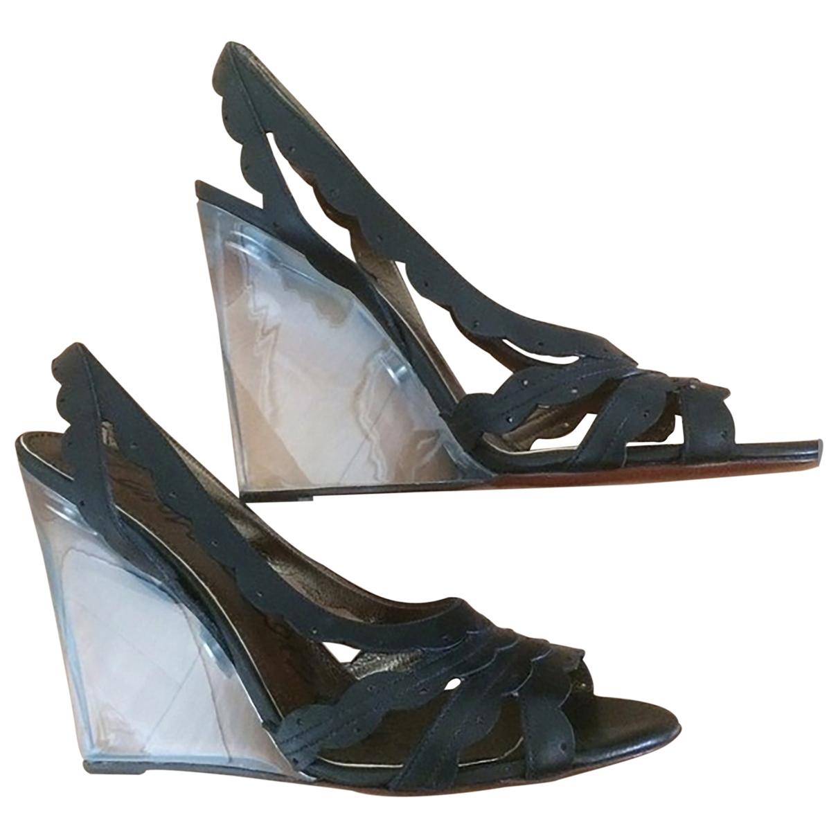 Lanvin \N Black Leather Sandals for Women 39.5 EU