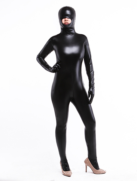 Milanoo Morph Suit Black Crotchless Bodysuit Shiny Metallic Catsuit with Mouth Opened