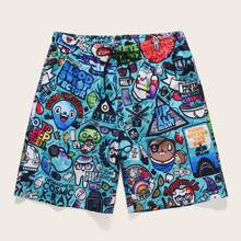 Men Cartoon & Letter Graphic Drawstring Waist Shorts