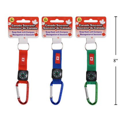 Canada Carabiner Keychain w/Compass, 1 Randomized Color Per Pack