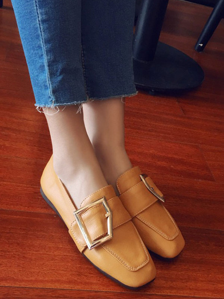 Milanoo Light Brown PU Leather Loafers Square Toe Metal Details Casual Shoes Women\'s Shoes