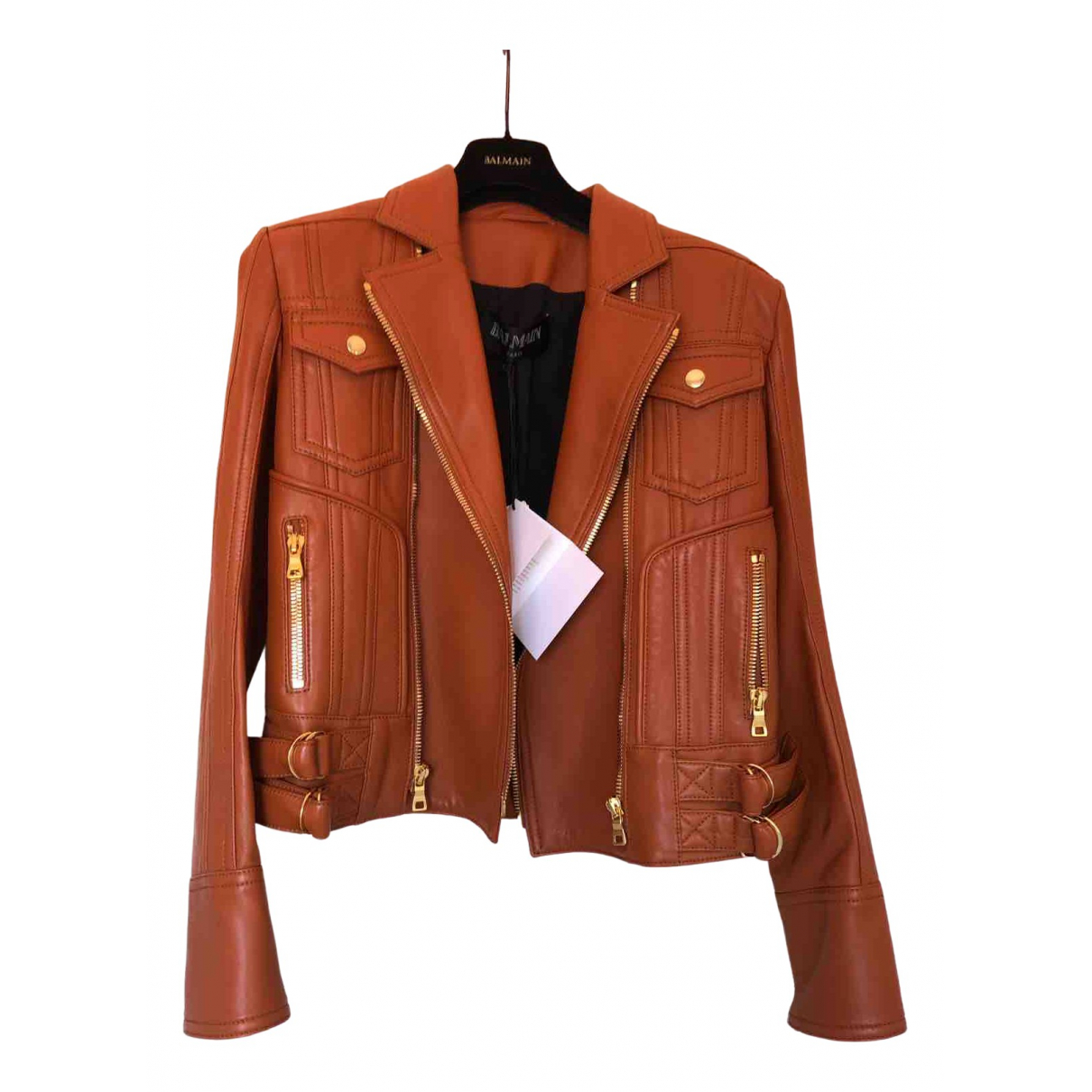 Balmain \N Camel Leather jacket for Women 38 FR