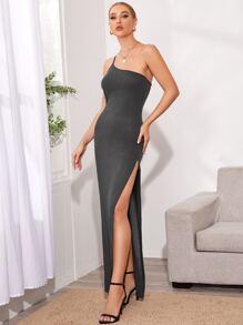 One Shoulder Split Thigh Solid Dress