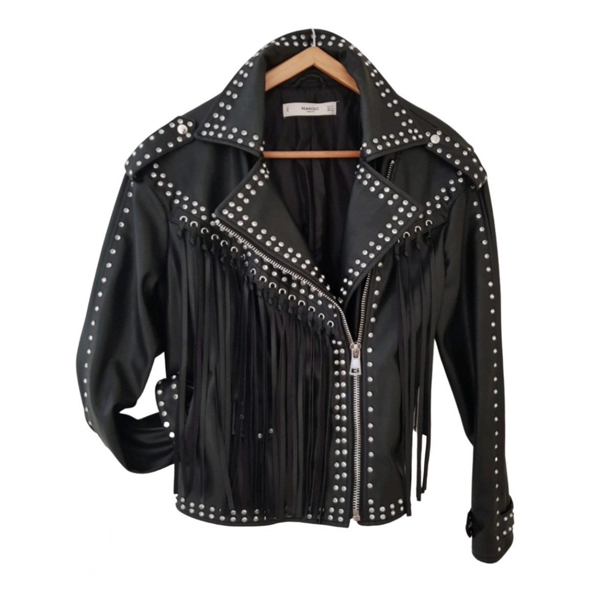 Mango \N Black Leather Leather jacket for Women 38 FR