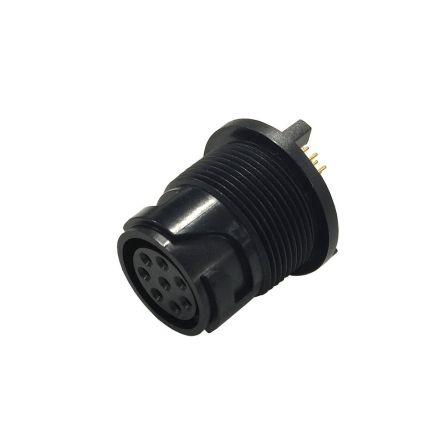 Bulgin Connector, 4 contacts Rear Mount Miniature Socket, Crimp, Solder IP66, IP68, IP69K (5)