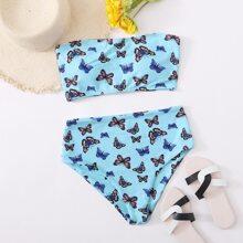 Butterfly Print Bandeau High Waisted Bikini Swimsuit