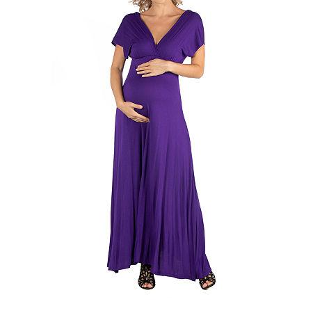24/7 Comfort Apparel Cap Sleeve V-Neck Maxi Dress, Small , Purple