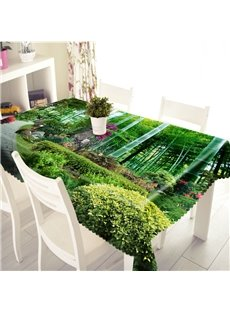 3D Green Bamboo Forest Printed Thick Polyester Table Cover Cloth