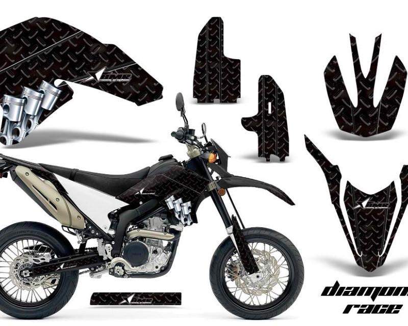 AMR Racing Dirt Bike Decal Graphics Kit Wrap For Yamaha WR250R WR250X 2007-2016áDIAMOND RACE BLACK