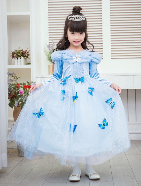 Milanoo Halloween Frozen Elsa Costume For Kids Aqua Butterfly Embellished Dress Halloween