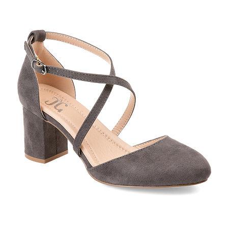 Journee Collection Womens Foster Pumps Buckle Pointed Toe Block Heel, 7 Medium, Gray