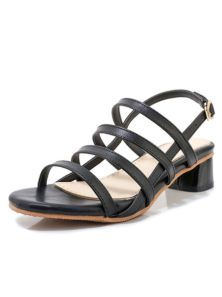 Milanoo Low Heel Sandals Womens Multicolor Open Toe Slingback Block Heel Sandals