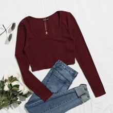 Solid Scoop Neck Rib Knit Tee