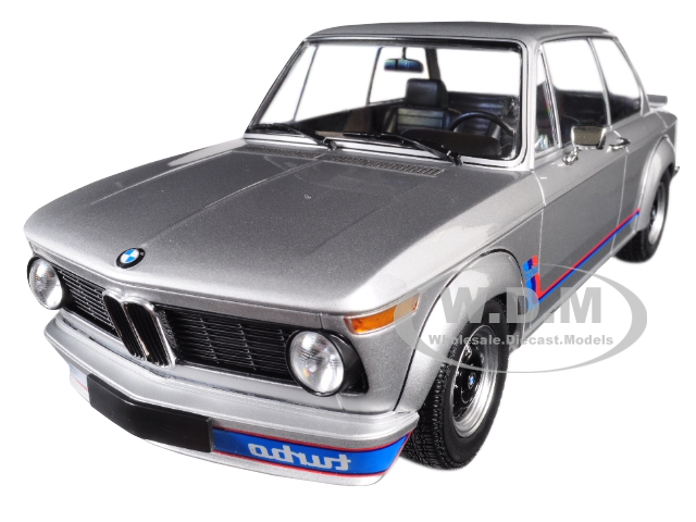 1973 BMW 2002 Turbo Silver with Stripes 1/18 Diecast Model Car by Minichamps