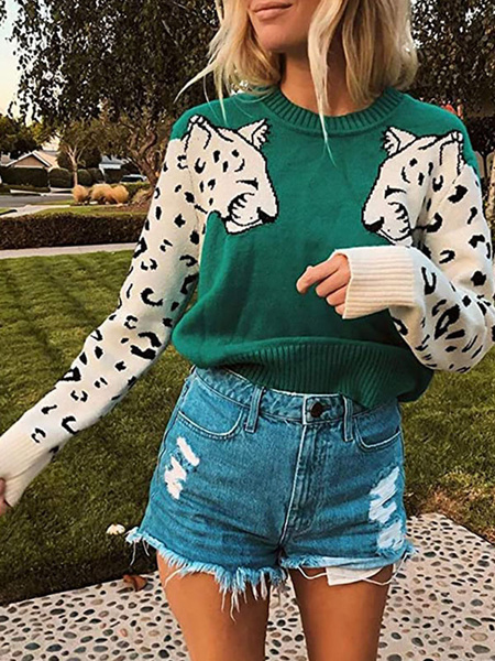 Milanoo Pullovers For Women Green Jewel Neck Long Sleeves Animal Print Sweaters