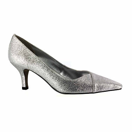 Easy Street Womens Chiffon Pumps Spike Heel, 8 1/2 Extra Wide, Gray