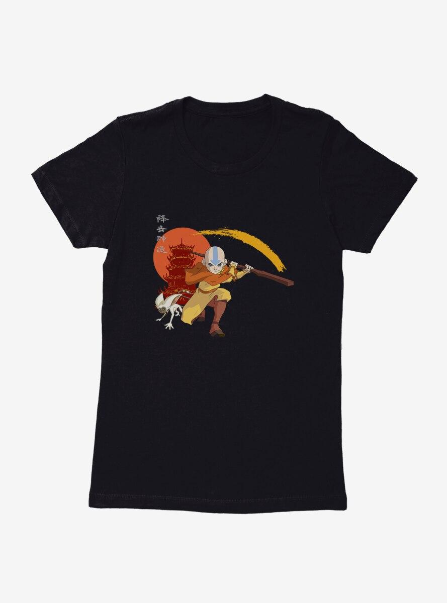 Avatar: The Last Airbender Aang And Momo Kanji Womens T-Shirt