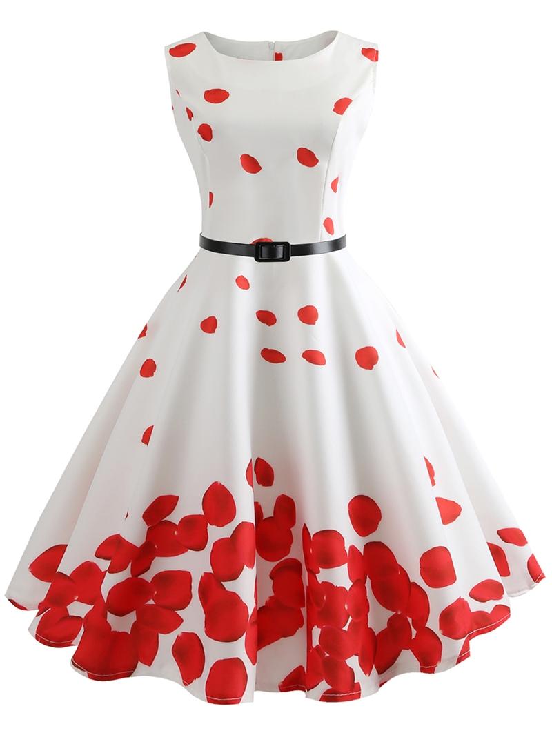Ericdress Round Neck Sleeveless Print Trumpet Standard-Waist Dress