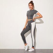 Two Tone Crop Top & Contrast Sideseam Leggings Set