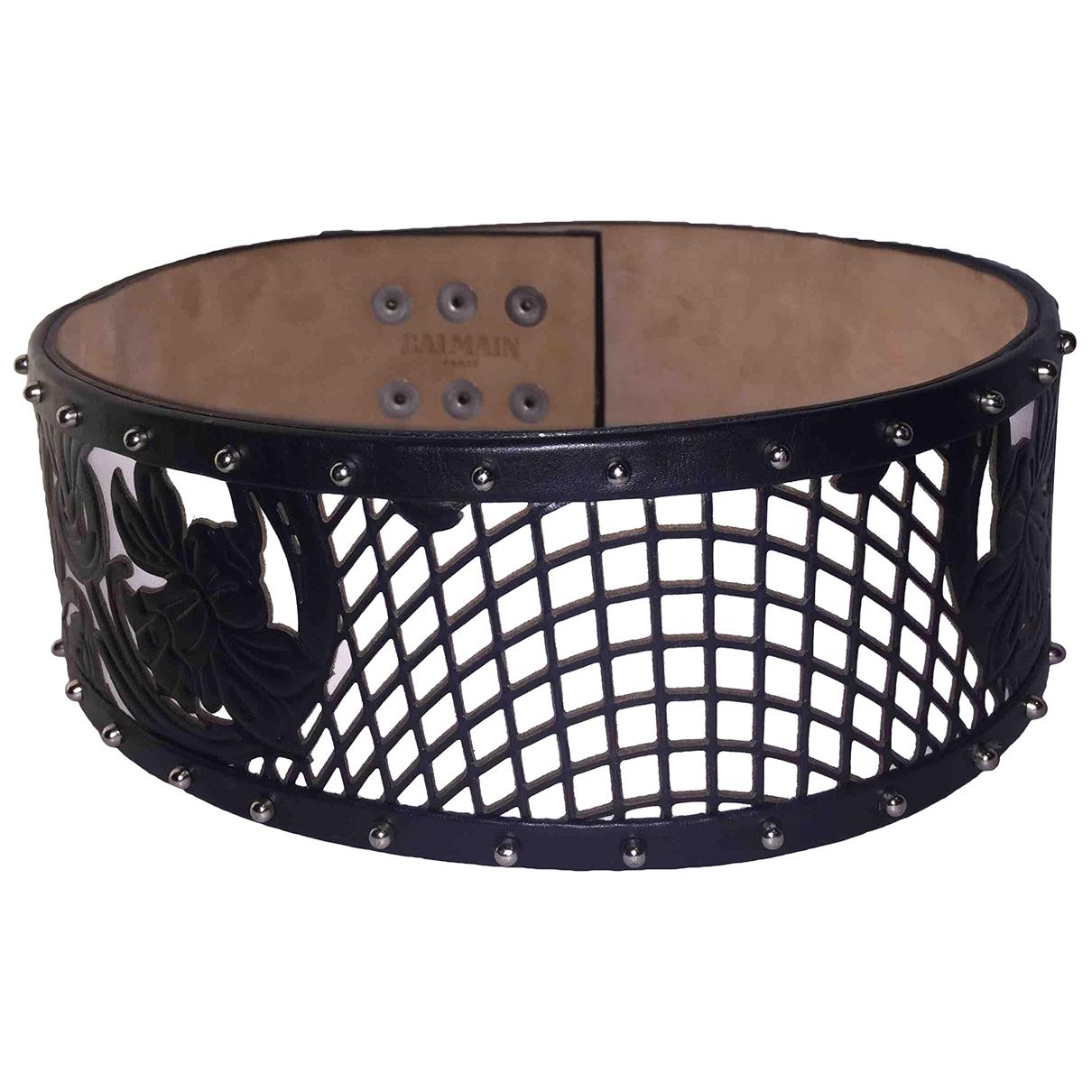 Balmain \N Black Leather belt for Women 70 cm