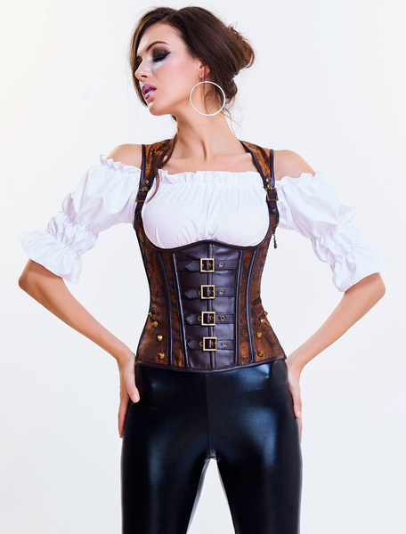 Milanoo Punk Underbust Corset Brown Strappy Lace Up Buckles And Rivets Decor Shaping Corset
