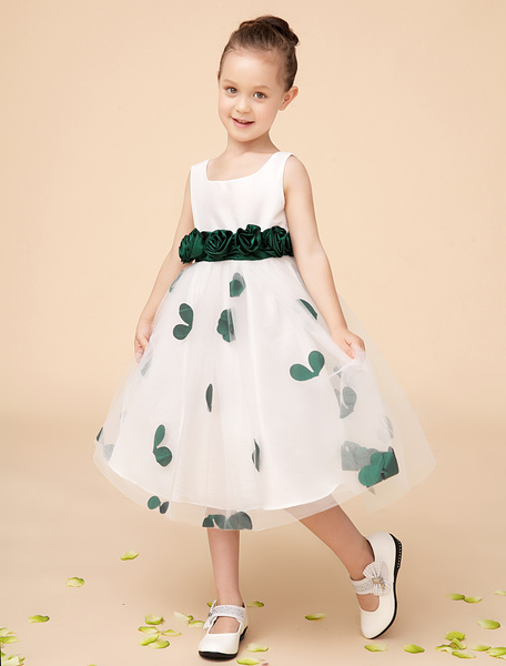Milanoo Ivory Jewel Neck Knee-Length Flower A-line Girls Pageant Dress with Green Flowers