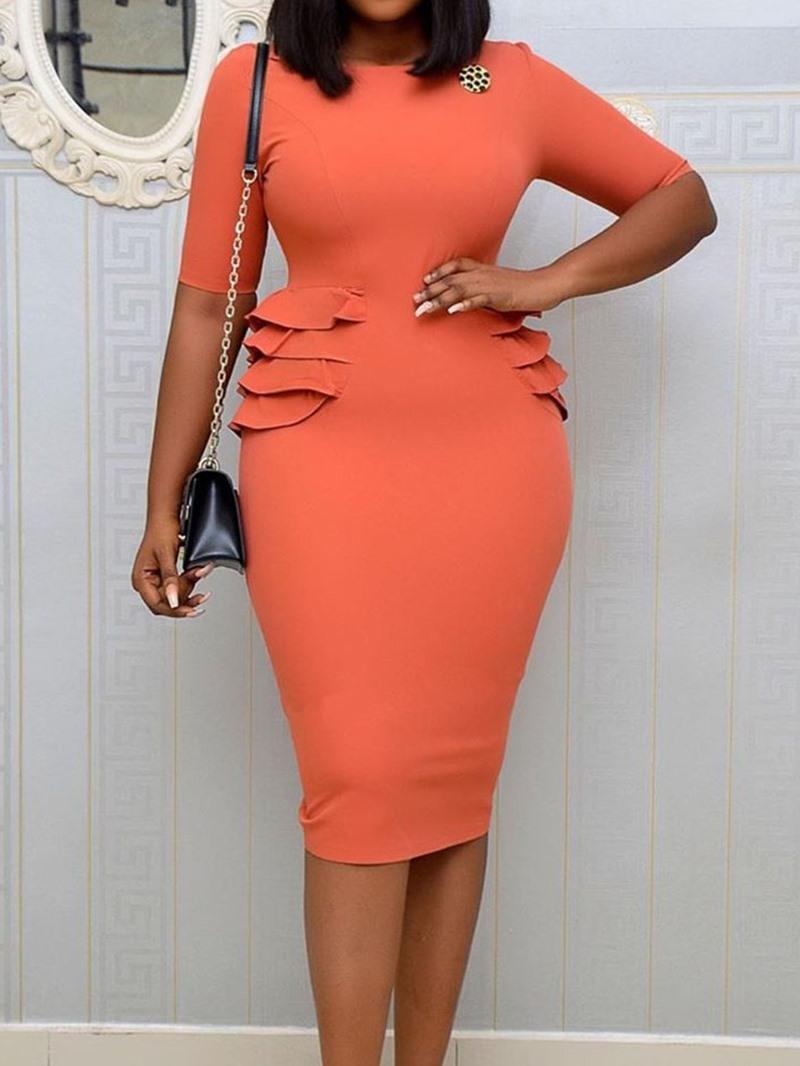Ericdress Short Sleeve Falbala Mid-Calf Bodycon Plain Dress