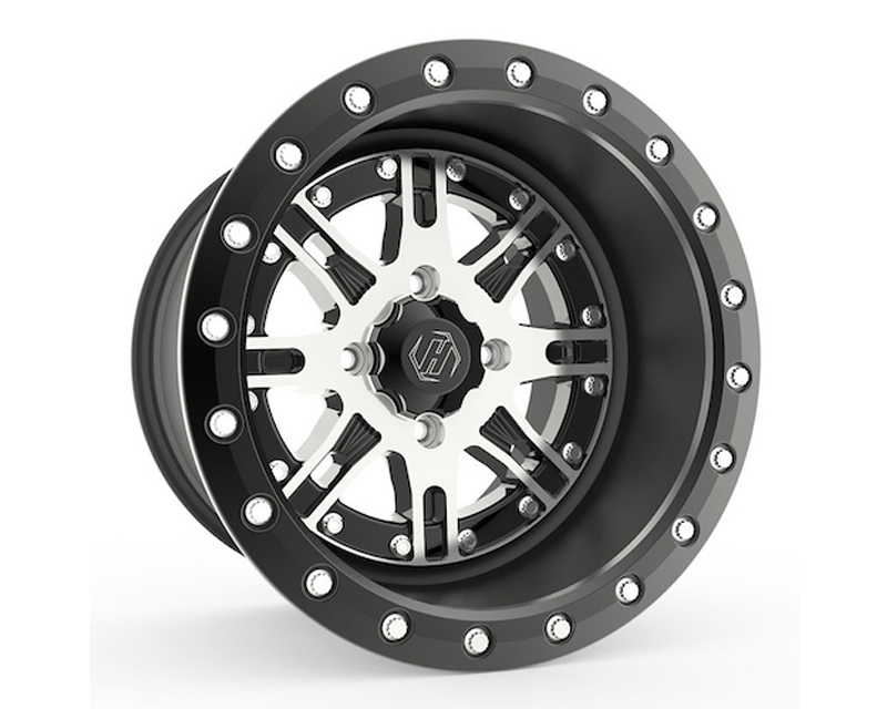 HiPer Technology 1410-PDRCM-55-SBL-BK Black with Machined Face Desert Rat Beadlock UTV Wheel 14x10 4x156  5+5 Offset