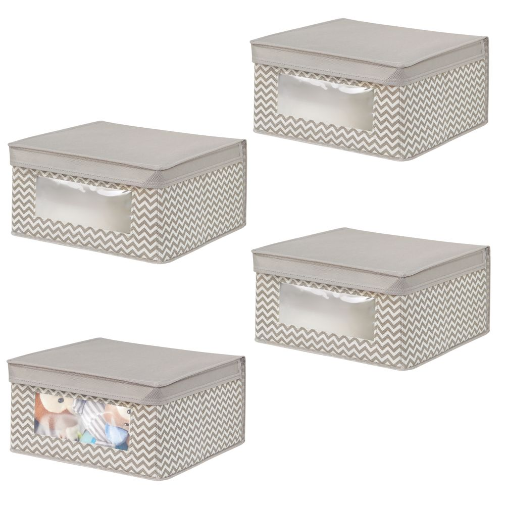 Small Baby + Kids Fabric Storage Box Organizer in Taupe/Natural, 11.5 x 11.25 x 6, Set of 4, by mDesign