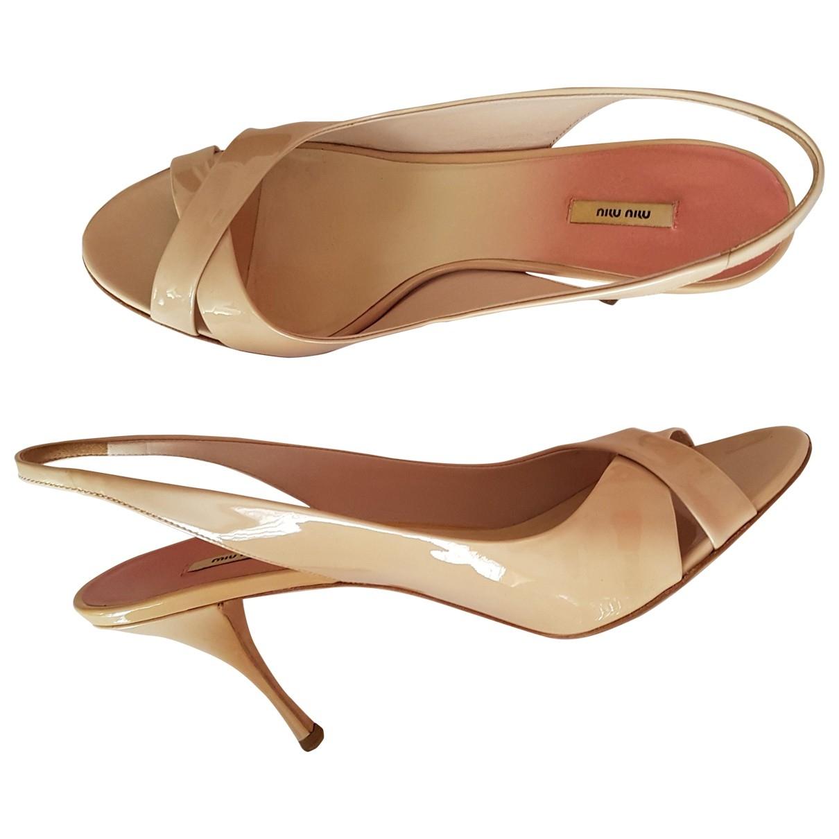 Miu Miu \N Beige Patent leather Sandals for Women 40 EU