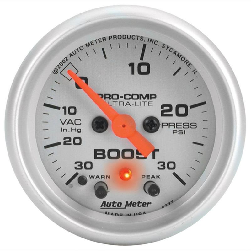 AutoMeter GAUGE; VAC/BOOST; 2 1/16in.; 30INHG-30PSI; STEPPER MOTOR W/PEAK/WARN; ULTRA-LITE