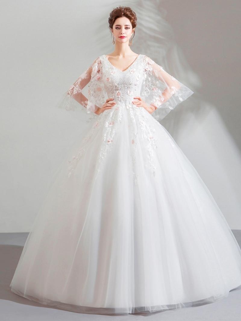 Ericdress V-Neck Ball Gown Beading Floor-Length Quinceanera Dress