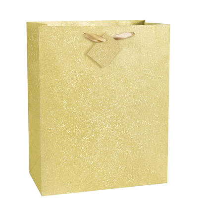 Gold Glitter Large Gift Bag, 13 x 10.5 x 5.5 in, 1ct