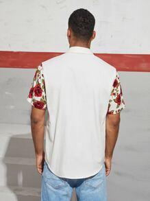 Men Floral Print Sleeve Shirt