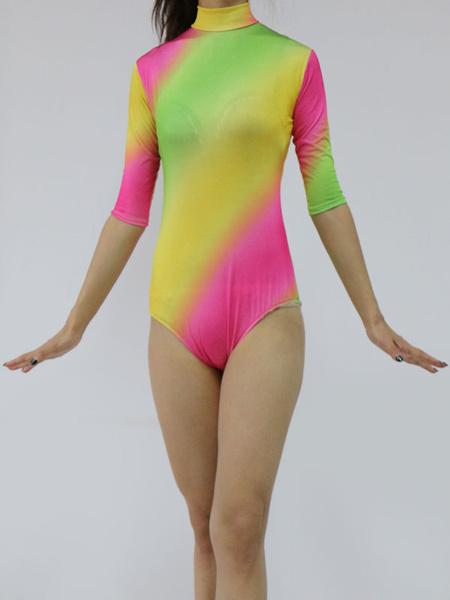 Milanoo Multi Color Leotard Half Sleeve Lycra Spandex Bodysuit for Women