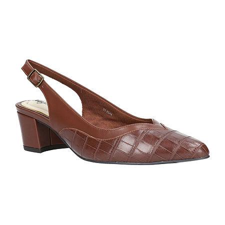 Easy Street Womens Takayla Pumps Block Heel Narrow Width, 7 1/2 Medium, Brown
