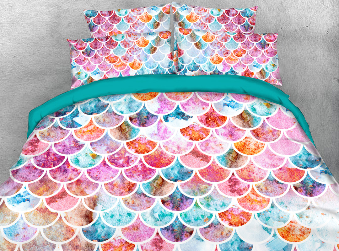 3D Fish Scale 5-Piece Comforter Set Polyester Zipper Ties Colorfast/Wear-resistant/Skin-friendly Bedding Sets
