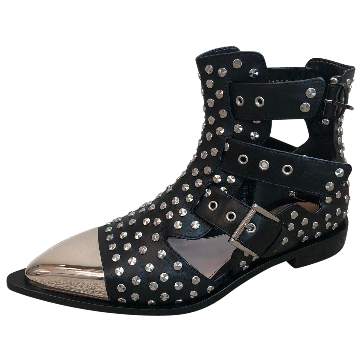 Alexander Mcqueen \N Black Leather Ankle boots for Women 38.5 EU