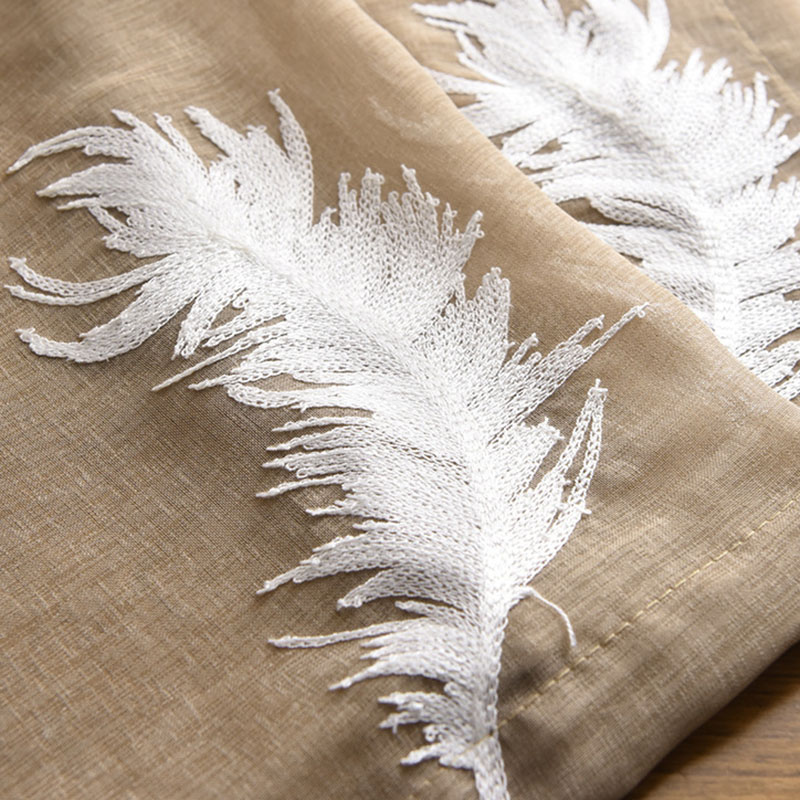 Modern Feathers Embroidered Sheer Curtains for Living Room Custom 2 Panels Breathable Drapes No Pilling No Fading No off-lining