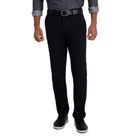 Haggar In Motion Khaki Slim-Straight Fit Flat Front Pant, 34 29, Black