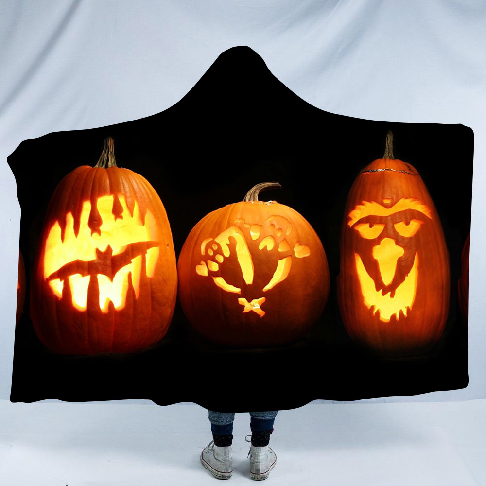 Orange Bat and Ghost Pumpkin Lantern Printing Polyester Hooded Blanket