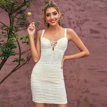 D&M Lace Up Shirred Bodycon Dress