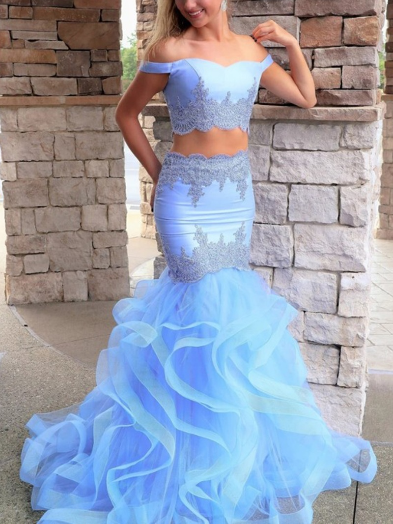 Ericdress Off-The-Shoulder Appliques Two Pieces Prom Dress